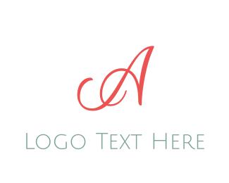 """Coral Cursive Letter A"" by BrandCrowd"