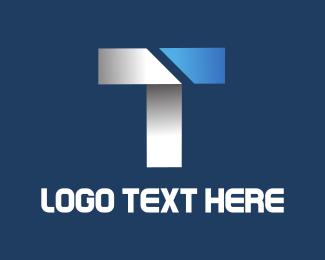 Futuristic - Metallic Letter T logo design