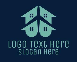Airport - House & Plane logo design