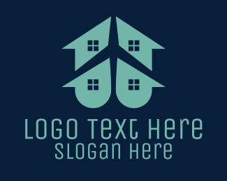 Airport - House & Plane logo design
