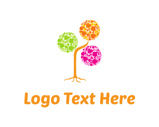 Orange And Pink - Bubbles Tree logo design