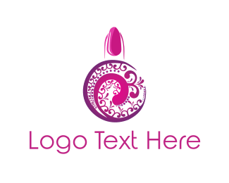 Nail Salon - Pink Nail Polish logo design