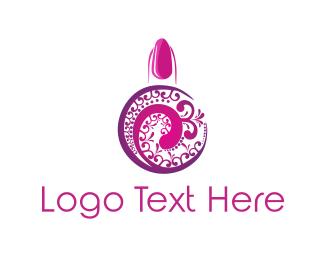Manicure - Pink Nail Polish logo design