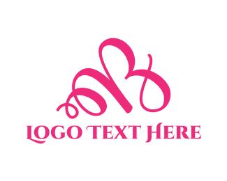 Cursive - Pink Letter B logo design