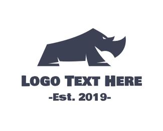 Mammal - Blue Baby Rhino logo design