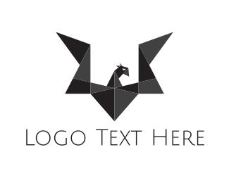 Vulture - Origami Black Dragon logo design