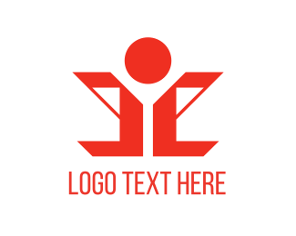 Male - Red Human logo design