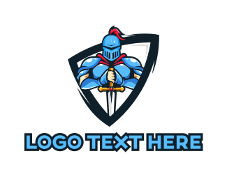 Pubg - Blue Knight Shield  logo design