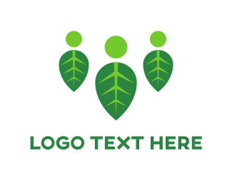 Crowd - Three People Leaves logo design