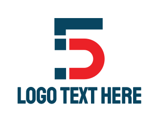 Machinery - Blue Red Number 5 logo design