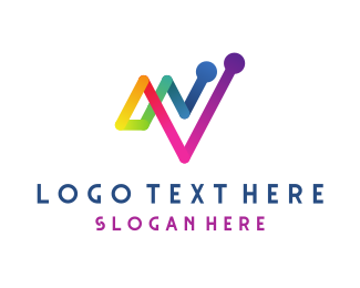 Vc - Colorful Chart Growth logo design