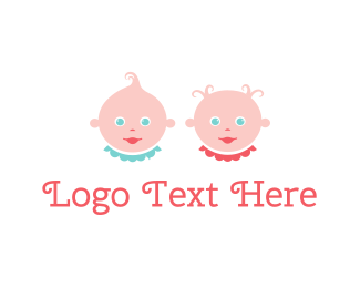 Boy And Girl - Baby Twins logo design