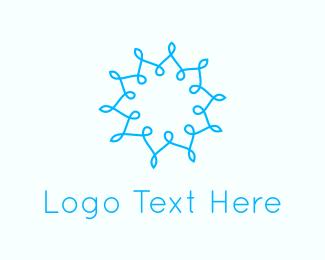 Mandala - Abstract Blue Flower  logo design