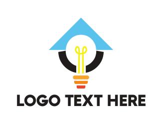Lantern - Light Bulb Lamp logo design