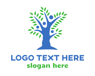 Human Resource - Blue People Tree logo design