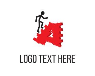 Training - Man & Ladders logo design