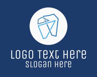 Line - Modern Geometric Tooth logo design