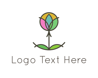 Hindi - Circles & Flower logo design