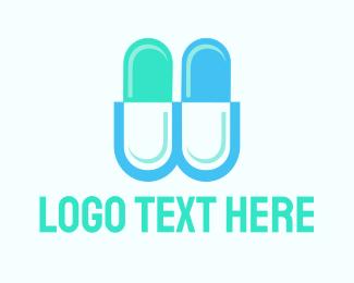 Pill - Capsule Letter W logo design