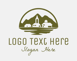Lake - Village Landscape logo design