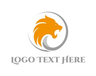 Roar - Gold Wild Lion logo design