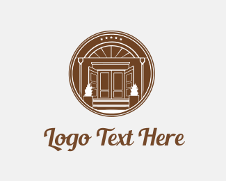 Door -  Brown Circle House Door logo design