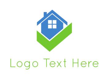 Window - Blue House & Gree Check logo design