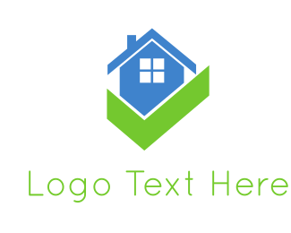 Blue And Green - Blue House & Gree Check logo design