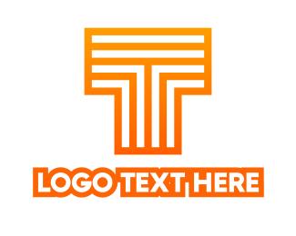 Data Transfer - Orange Line T logo design