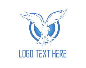 Football - Blue Eagle Circle Emblem logo design