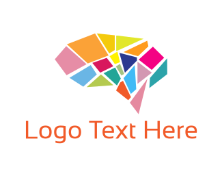 Colorful - Brain Mosaic logo design