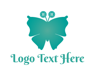 Sew - Button Butterfly logo design