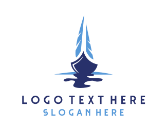 Canoe - Blue Sailing Boat logo design