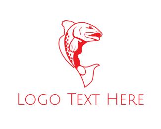 Fisherman - Red Fish logo design