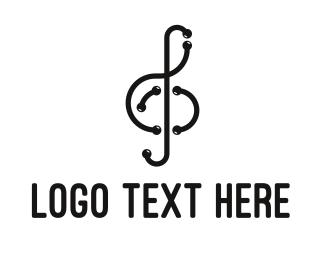 Band - Modern Musical Note Outline logo design