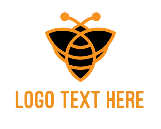 Wasp - Orange Bee logo design