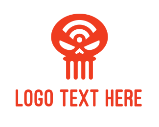 Skeleton - Wifi Skull logo design