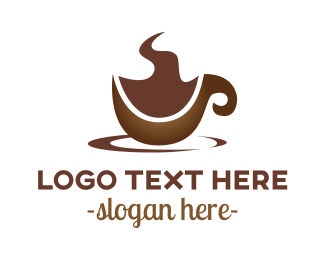 Hot Chocolate - Abstract Brown Cup logo design