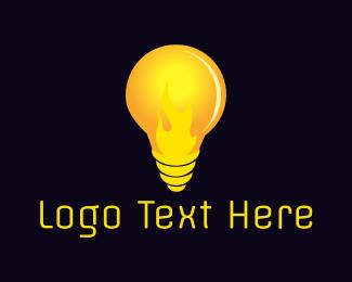 Light Bulb - Fire Bulb logo design