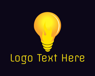 Light - Fire Bulb logo design