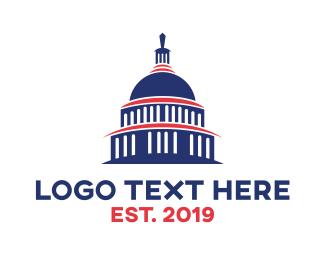 Government - Blue Capitol Building logo design