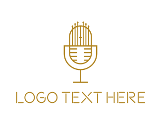 Singer - Gold Microphone Gate logo design