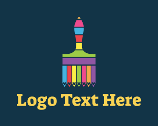 Paint - Colorful Paintbrush Stripes logo design