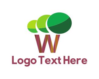 Letter W - W Tree logo design