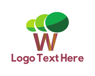 Trees - W Tree logo design