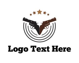 Hunting - Two Handguns logo design