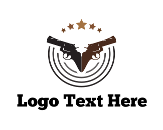 Gun Club - Two Handguns logo design
