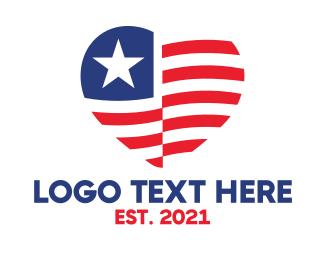 American - American Heart  logo design