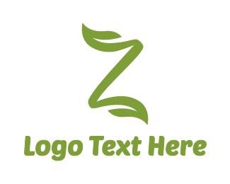 Stroke - Green Leaf Z Stroke logo design