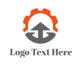 Mechanical - Orange Gear Arrow Mountain logo design